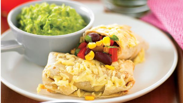Cheesy corn and bean pillows