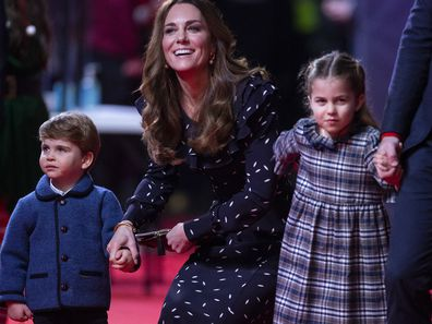 Catherine, Duchess of Cambridge, Prince Louis and Princess Charlotte attend a special pantomime performance at London's Palladium Theatre.