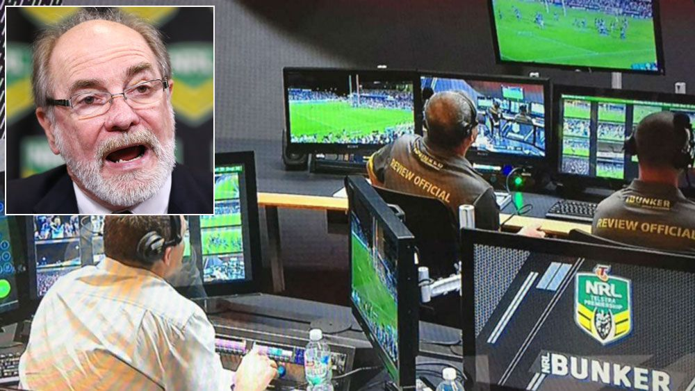 Inside the NRL bunker and (inset) John Grant. (Supplied and Getty)