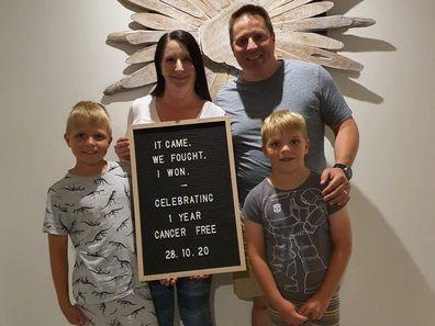 Karen Lamond celebrating one year post cancer treatment.