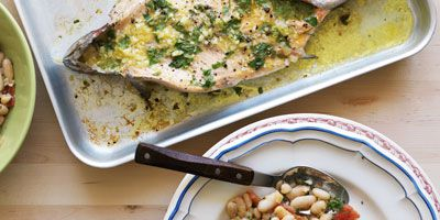 Rainbow trout with cannellini beans