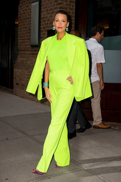"""<p>Get your sunnies ready ladies, because if the style set are anything to go by it looks like we're all going to be wearing neon this summer.</p> <p>Fashion 'It' girl <a href=""""https://style.nine.com.au/2018/08/09/09/00/fashion-style-blake-lively-ryan-reynolds-premiere"""" target=""""_blank"""" title=""""Blake Lively"""">Blake Lively</a> has stepped out looking every inch the <a href=""""https://style.nine.com.au/2018/05/15/15/33/blake-lively-style"""" target=""""_blank"""" title=""""style icon"""">style icon</a>that she is in head-to-toe neon green.</p> <p>In New York to promote her upcoming movie, <em>A Simple Favour</em>, the actress turned heads in a bold Versace pantsuit and multi-coloured sequined pumps.</p> <p>However, the mother of two isn't to be outdone by <a href=""""https://style.nine.com.au/2018/08/20/09/16/latex-kim-kardashian"""" target=""""_blank"""" title=""""KimKardashian West"""">Kim Kardashian West</a> who has literally worn only neon-hued outfits for the past week, proving that the bright shade is one we're about to see all over our Instagram feeds this summer.</p> <p>Before you start scouring online to find your own neon outfit to rock for your next night out - or trip to the supermarket - take a style cue from some of our favourite A-listers who've put their own style stamp on the hard-to-miss look.</p>"""