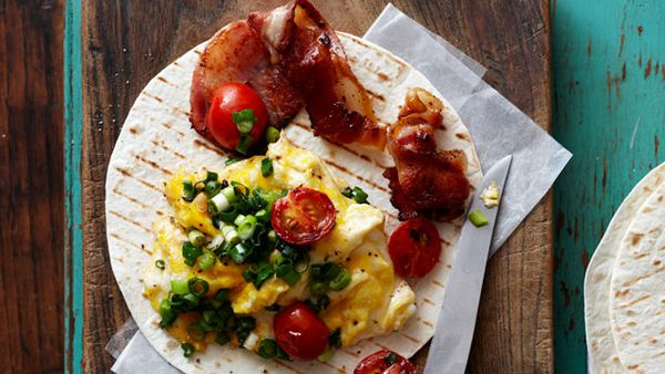 Bacon and egg scramble wrap