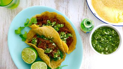"""Recipe:&nbsp;<a href=""""http://kitchen.nine.com.au/2016/07/18/11/18/jacqueline-alwills-slow-cooked-mexican-beef-with-cucumber-apple-and-jalapeno-salsa"""" target=""""_top"""" draggable=""""false"""">Jacqueline Alwill's slow cooked Mexican beef with cucumber, apple and jalape&ntilde;o salsa</a>"""
