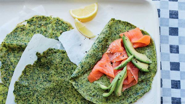 Energy-boosting spelt and spinach crepes with avocado by Rachel Kelly