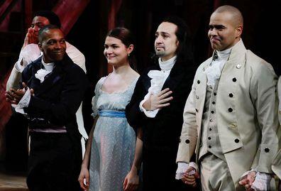 Leslie Odom Jr., Phillipa Soo, Lin-Manuel Miranda, Christopher Jackson, Hamilton, Opening Night, 2015
