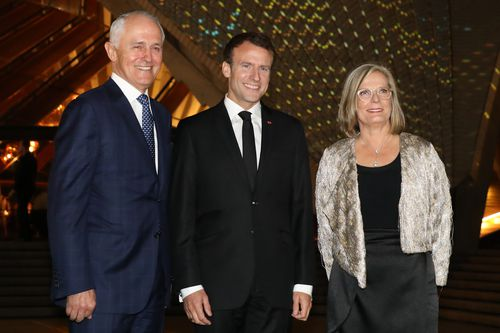 """Mr Macron caught plenty of people by surprise when he called Lucy Turnbull """"delicious"""". (AAP)"""