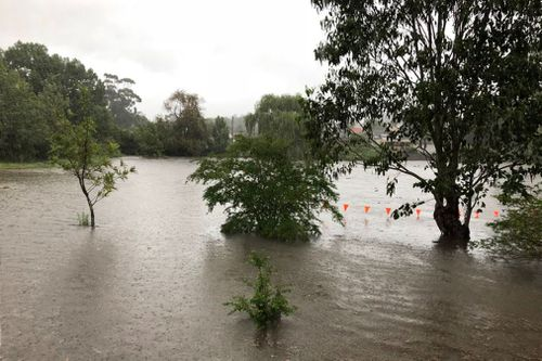Upper Reserve in Wallsend completely flooded today.  (@teaghan_wilson)