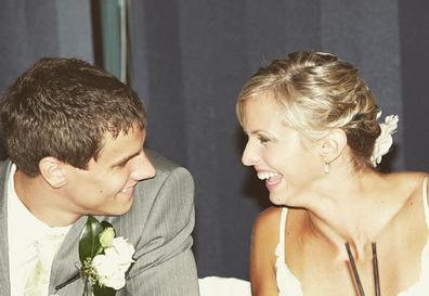 Libby and Luke Trickett on their wedding day