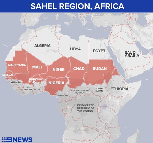Map of the Sahel region in Africa.
