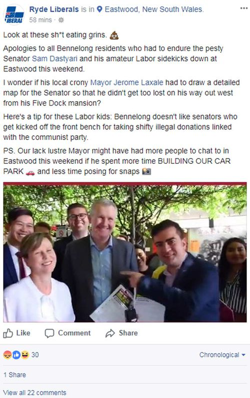 The post as it appeared, prior to it being edited. (Facebook/Liberal Party of Ryde)