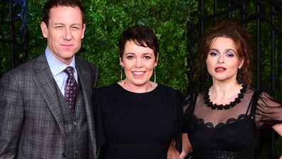 Tobias Menzies, Olivia Colman and Helena Bonham Carter arriving for The Crown Season 3 premiere in London
