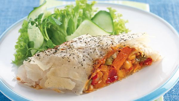 Vegie and bean strudel