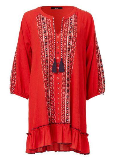 "<a href=""https://www.sportsgirl.com.au/clothing/dresses/sequin-embroidered-swing-dress-watermelon"" target=""_blank"">Sportsgirl Urban Folk Sequin Embroidered Swing Dress, $109.95.</a>"