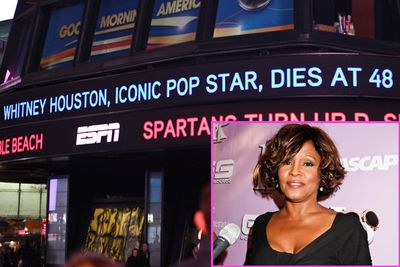 On February 11, 2012, Whitney Houston was found dead at the Beverly Hilton Hotel, with the cause of death as yet unknown. She had been staying at the hotel ahead of the Grammy Awards the night after. <p><br/>The LA Times reported that the 'visibly bloated' singer had appeared 'disheveled' and 'erratic' at a press junket the day before, and according to a Grammy staffer, security personnel attended to the singer doing handstands by the hotel pool.<p><br/>