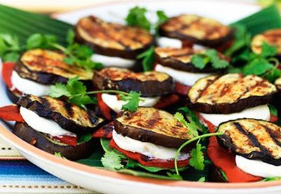 Eggplant quesadillas with spinach mozzarella and roasted red capsicum