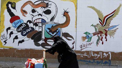 Graffiti on the abandoned Saudi embassy in Yemen.