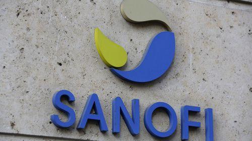 This photo taken taken Monday Nov.30, 2020 shows the logo of French drug maker Sanofi at the company's headquarters, in Paris