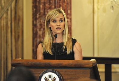 Reese Witherspoon speaks at the Global Women's Leadership at the International Women of Courage Awards hosted by Secretary of State Hillary Clinton and attended by First Lady Michelle Obama in 2010.