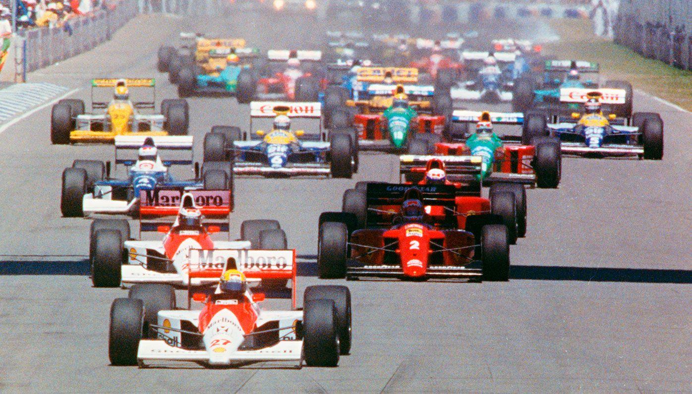 Ayrton Senna leads the field away at the start of the 1990 Australian Grand Prix.