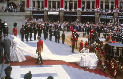 Princess Diana arrives on her wedding day in 1981.