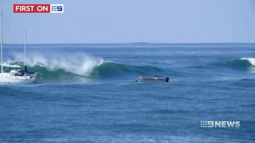 9RAW: Fisherman lucky to be alive after escaping giant swell