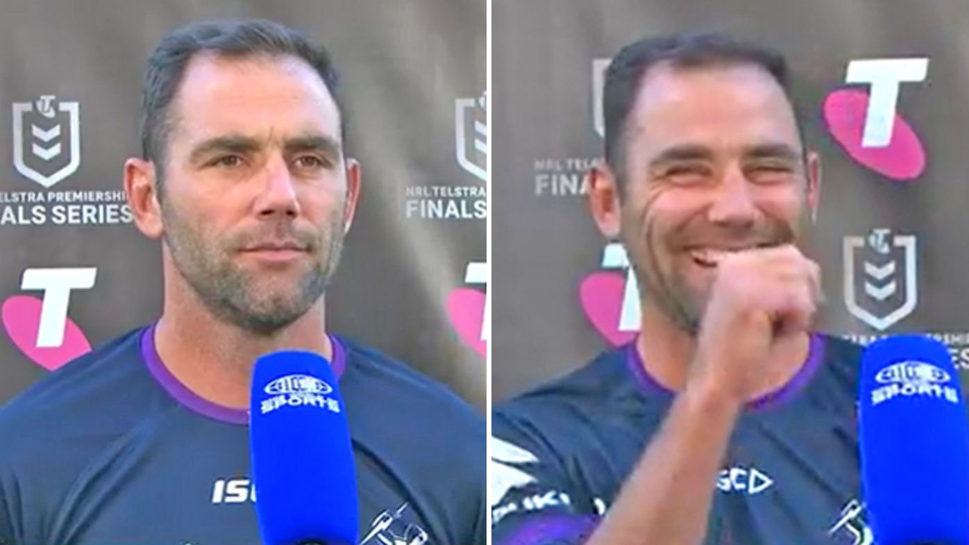 Cam Smith is stitched up in his pre-game interview
