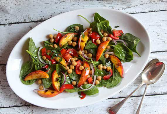 Liliana Battle's grilled nectarine, capsicum and chickpea salad