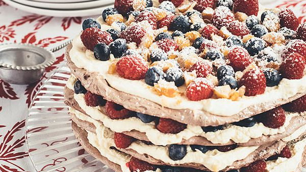 Chocolate macadamia pavlova stack
