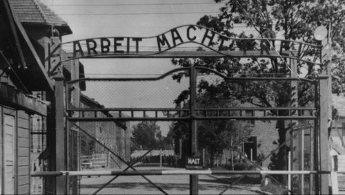 The entrance to the infamous Auschwitz prison camp. (AAP)