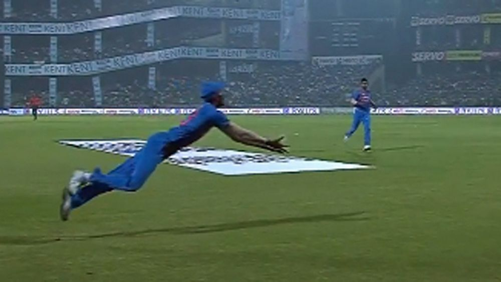 Cricket: India's Hardik Pandya makes spectacular catch to dismiss Martin Guptill in T20 against NZ