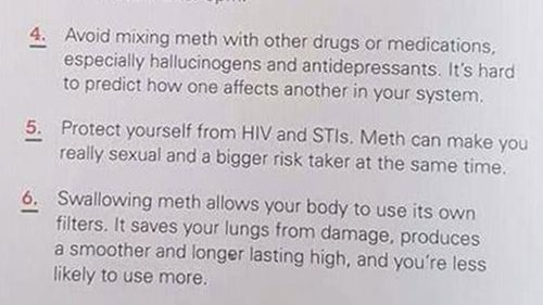 Morgan Julian claims the handout encourages drug use.