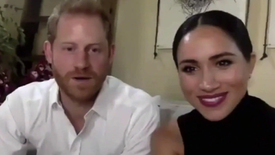 Harry and Meghan talk to Malala about female education.