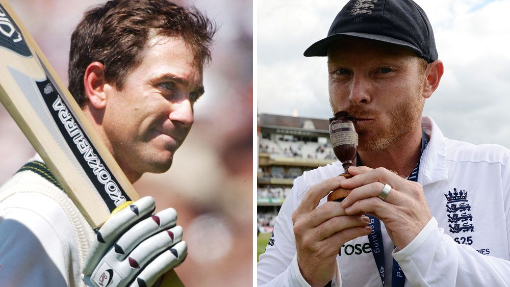 Justin Langer and Ian Bell. (AAP)