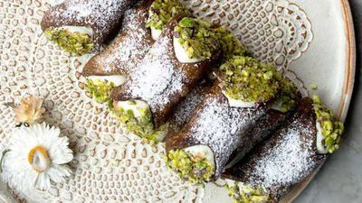 "Click through for&nbsp;<a href=""http://kitchen.nine.com.au/2016/11/08/14/44/cocoa-cannoli-with-ricotta-cannoli-al-cacao-ricotta"" target=""_top"">Paola Bacchia's cocoa cannoli with ricotta (cannoli al cacao ricotta)</a>"