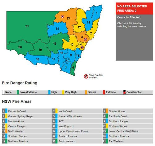 Fire bans and risk ratings across NSW today. (RFS)