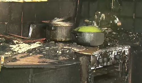 A boy, 4, has set his family home on fire after lighting a piece of paper of the stove.