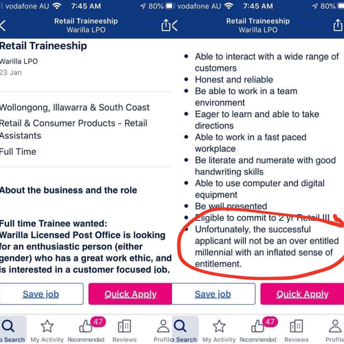 A job posted on Seek has been taken down due to 'age discrimination' after the employer discouraged 'over entitled millennials' from applying.