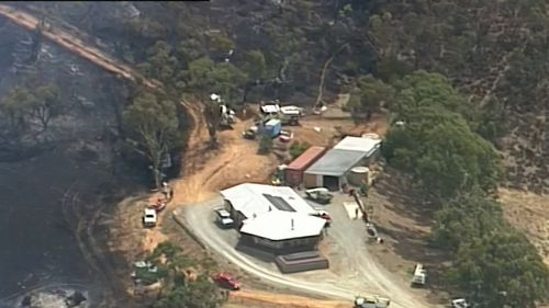 The Clare Valley blaze came within metres of two homes, but swift action by fire crews saved the properties. (9NEWS)