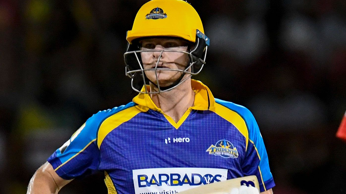 Steve Smith walks before being given out LBW in Caribbean Premier League debut
