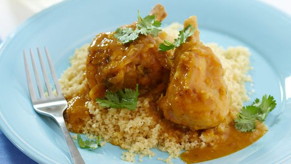 Apricot chicken with couscous