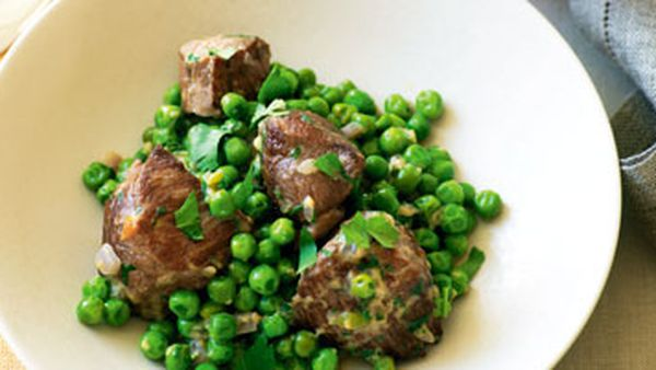 Lamb with peas and egg