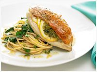 Lemon chicken with spaghetti