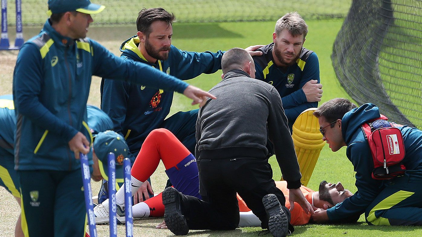 Australia net bowler collapses after getting hit on the head
