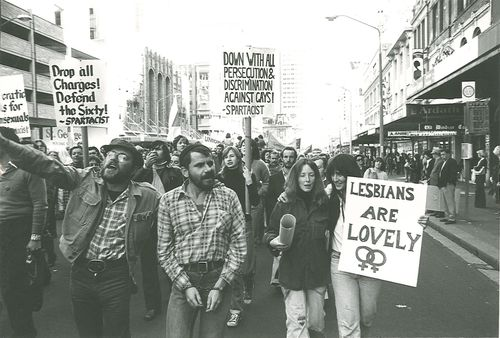 The Mrrdi Gras marchers walking the streets of Sydney in 1978. (AAP)