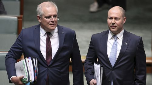 Prime Minister Scott Morrison and Treasurer Josh Frydenberg during Question Time at Parliament House in Canberra on Wednesday 7 October 2020. fedpol Photo: Alex Ellinghausen