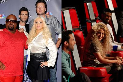 Now this is real switcheroo! <i>The Voice</i> is rotating judges for its next seasons. The first three seasons were Christina Aguilera, Cee Lo Green, Adam Levine and Blake Shelton. Season four saw Shakira and Usher replace Christina and Cee Lo. Season five marked the return of the original panel ... but season six (2014) returned to season's four configuration. Confused? Don't be! It's just reality TV!