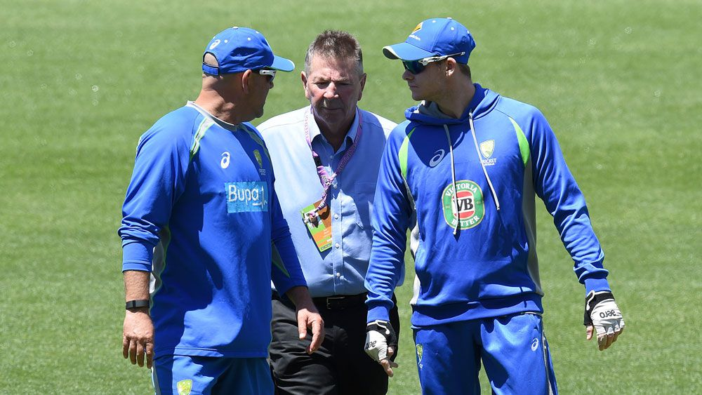 Rod Marsh with Australian captain Steve Smith and national coach Darren Lehmann.(AAP)