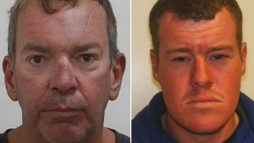 Registered sex offender Paul Kraft (left) has been arrested by Victoria Police, Robert Crilly (right) is still at large