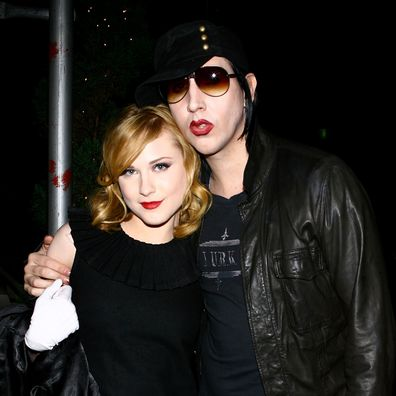 """Actress Evan Rachel Wood and musician Marilyn Manson arrive for the after party for a special screening of """"Across The Universe"""" at Bette on September 13, 2007 in New York City."""